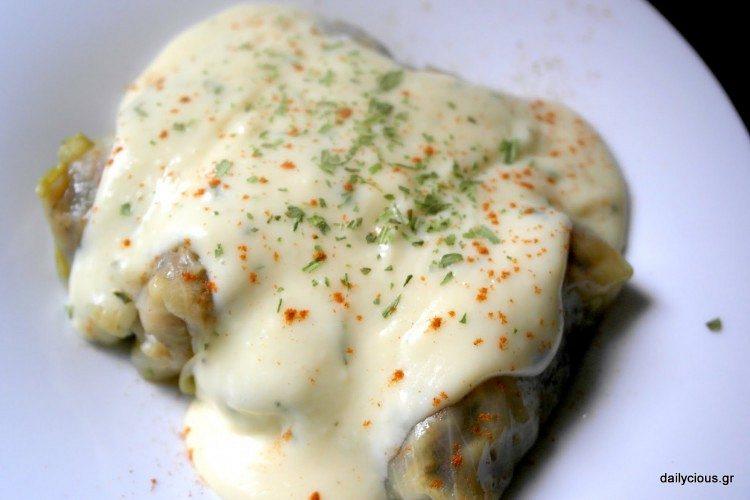 "Greek stuffed cabbage rolls ""lahanodolmades"""