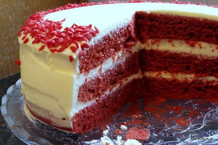 Red Velvet Cake (κέικ κόκκινο βελούδο)