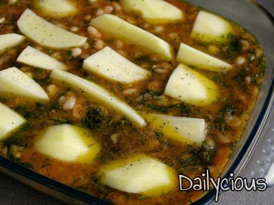 Legumes with potatoes in the oven