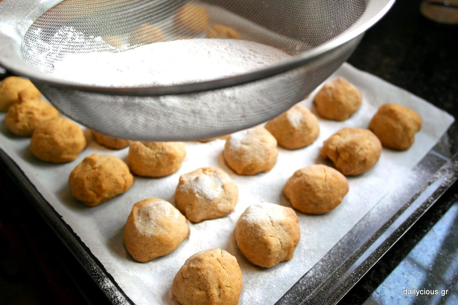 Preparing Greek Kourabiedes