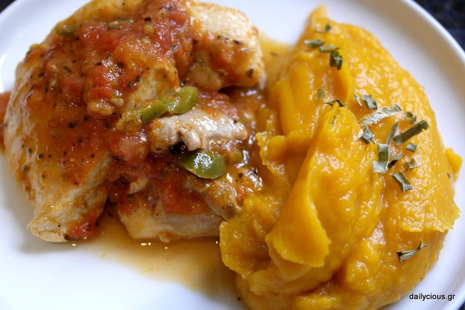 Το κοτόπουλο ταιριάζει ωραία με πουρέ γλυκοπατάτας.