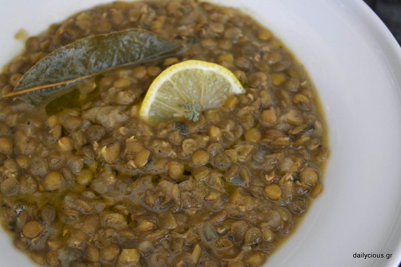 Άσπρες Φακές Σούπα με Λεμόνι και Ρίγανη
