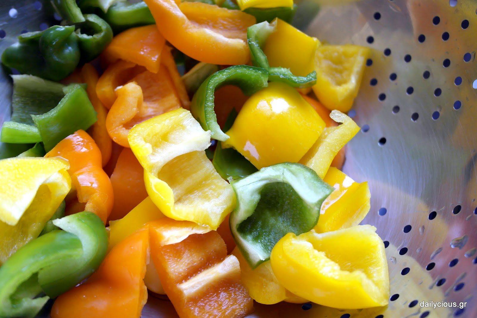 Τα κομμένα λαχανικά.