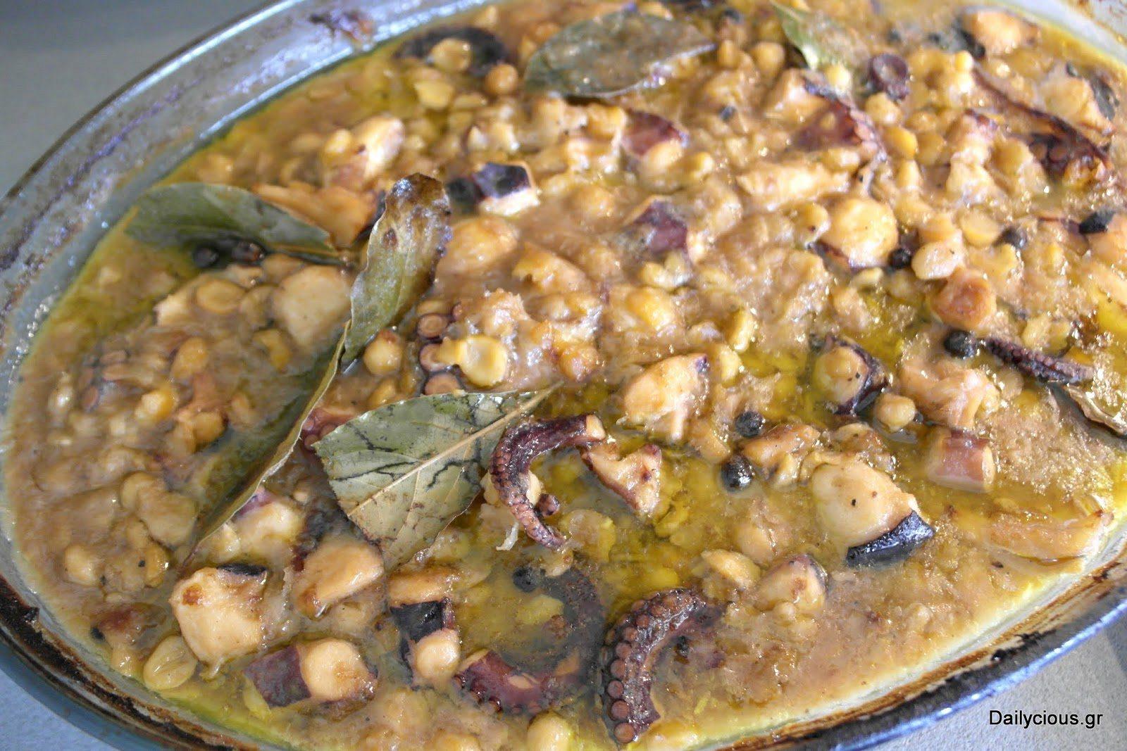 Ρεβίθια με χταπόδι (στο φούρνο)